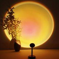Закат USB LED Ночной свет Радуга Проекционная лампа Атмосфера Солнце Проекция для спальни Фон Стена Тикток Украшение