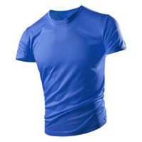 Kurzärmelige T-Shirt Männer Schnelltrocknende Kleidung Sommer blau Atmungsaktiv plus Größe Sommersport Eiseide Top Herrenbekleidung
