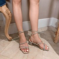 Sandals Square Toe High Heels Women Crystal Ladies Shoes Chunky Summer 2021 Y