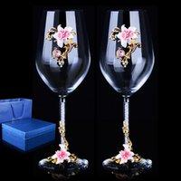 Wine Glasses 1 Par De Copos Vidro Cristal Esmaltados Europeus Alta Qualidade, Vinho Tinto, Com Diamante, Presente Casamento