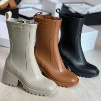 Las mujeres Betty Rain Boot en el tobillo de PVC Boot Bootboots PVC Boeled Boots Zipper Vintage Square Head Shoes Fashion Knee-High Boot Martin Boots 327