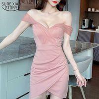 Sexy Mesh Stitching A Word Shoulder Nightclub Dress Temperament Slim Waist Bag Hips Office Lady Sheath Solid Vestido 14371 210508