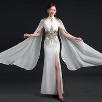 Ethnic Clothing Women Satin Cheongsam Tassel Vintage Button Performance Dress Gown Mandarin Collar Sexy Qipao High Split Chinese Style Vesti