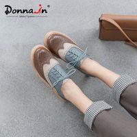Donna w wiosennym Brogurze rzeźbione Oxfords dla kobiet Dorywczo prawdziwe skórzane koronki panie buty z obcasami mieszane kolor chaussures femme W53W #