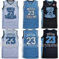 최고 품질 남성 NCAA 노스 캐롤라이나 타르 타이어 23 마이클 저지 UNC 대학 농구 유니폼 블랙 화이트 블루 사이즈 S-2XL