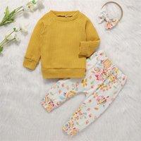 Bebê infantil Floral sets suéter sólido manga longa meninas tops Calças elásticas crianças roupas casuais com roupas de cabelo meninas outfits 06 192 y2
