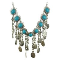 Bohemia Blue Resin Beads Gems Dangle Coin Statement Necklace Turkish Gypsy Ethnic Tribal Belly Dance Jewelry