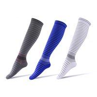 Мужчины компрессионные носки над коленом полосатый спортивные длинные трубки давление на поднятие на поднятие на велосипедную футбол йогу