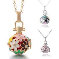 Kimter Flower Flor Angel Ball Colar 5 estilos Bronze Metal Pingentes Bebê Chime Colares com jóias de cadeia de aço inoxidável B381qa
