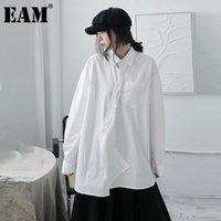 [EAM] frauen weiße kurze unregelmäßige große größe bluse revers langarm lose fit shirt mode flut frühling herbst 2021 1dd0584 frauen blusen