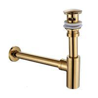 Pia de bacia de banheiro Pop Up Drenamento Banheira de bronze Acessórios Chrome / Golden / Óleo esfregado Bronze Bronze Bacia Tap Tap Garrafa Trap Dreno Kit Sh190919