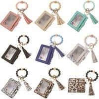 8 Colors Designer Wallet Keychain Leopard Print Wooden Bead Wrist Tassel Bracelet Bag Keychains Holder Wallets Credit Card Keyring Handbag Women Decoration Gift