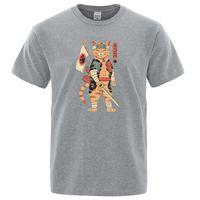 Men's T-Shirts Knight Catana Japanese Ukiyoe Printing Tshirt Crewneck Vintage Tops Loose Breathable T-Shirt Summer Oversized T Shirt Mens