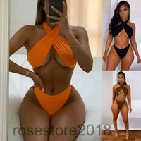 Women tracksuit summer new Designer Fashion women's sexy cross neck solid color Swimsuit Bikini Two-piece sets suspender Briefs Outfits