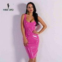 Miss Ord Sexy Neck Irregular Neck Latex Syless Dress FT8271 210508