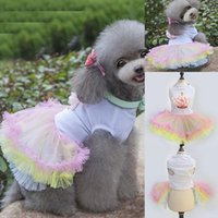 Dog Apparel Cute Tutu Dress For Girls Dogs Puppy Princess Colorful Lace Skirt Pet Clothes Cupcake Doggy XS S M L XL