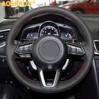 Black Leather Hand-stitched Car Steering Wheel Cover For Mazda CX-3 CX3 CX-5 CX5 2017 2018