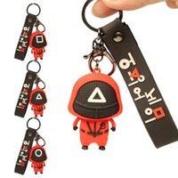 Jogo de lula Keychain Pendant Cosplay Lee Jung Jae Mesmo Estilo 3D Chaveiro Chaveiro Máscara de Cadeia De Máscara Presente Redondo Triângulo Quadrado Com Band Key Ring