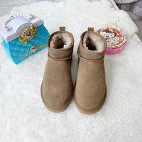 2021 New Women Shoe Fur one Ankle Boots Designer Winter Snow Boot Wedges Lady Bowtie Outdoor Waterproof Australian Style LEATHER &FUR women's Warm Shoes