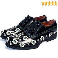 اللباس أحذية جلدية مصمم الأزهار حقيقية الرجال اليدوية الدانتيل يصل أكسفورد ماركة الزفاف حزب مكتب شقة زائد الحجم