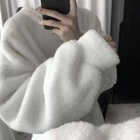 Bella Philosophy Wonder Winter Hoodies Lambswool Sweatshirt Solid Pullover Warm Turtleneck Trendy Fashion Clothing Tops Women's & Sweatshirt