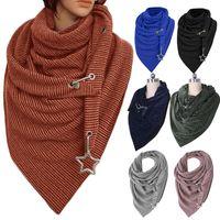 Mujeres invierno espesar bufanda grande con botón de gancho estrella colgante casual color sólido acanalado triángulo shap wrap wrap cuello al aire libre calentador