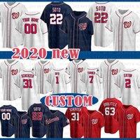 Washington Custom 22 Juan Soto Jersey de béisbol 31 Max Scherzer 20 Daniel Murphy 12 Howie Kendrick 7 Trenea Turner 6 Anthony Rendon 34 Harper