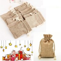Christmas Burlap Bags Jute Hessian Drawstring Sack Wedding Favor Gift Pouches Home Party Decoration Crafts Pack Festive Supplies Wrap