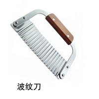 New Arrival Stainless Steel Wavy Soap Cutter Crinkle Vegetable Potato Chip Dough Slicer with Wooden Handle Kitchen Supplies