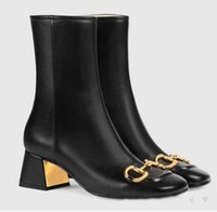 Designer top quality women's ankle boots fashion horse clasp black and white zipper high heels autumn Martin Knight boot