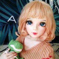 Máscaras de fiesta (shi-06) hembra dulce niña resina media cabeza kigurumi bjd ojos crossdress cosplay japonés anime papel lolita máscara con y peluca