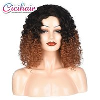 AFRO Kinky Кудрявый короткий синтетический парик смешанный темный светло-коричневый 20 дюймов для Америки Африка Женщины для волос Косплей термостойкие парики