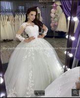 2021 Robe de mariage white tulle ball gown wedding dresses beaded lace appliques long sleeve modest princess bridal gowns vintage saudi arabic bride dress
