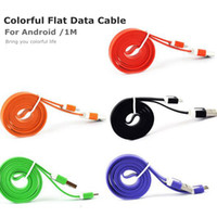 2021 Colorful 1M 3FT 2A Flat Noodel Micro USB Data Cable Charging Adapter Soft Metal Head V8 5pin Cable for Android Smartphone