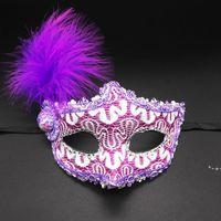 Maschera per gli occhi Feather Masquerade Ball Carnival Sexy Fancy Dress Multi Color Princess Maschere per Halloween Party Sea Shipping HWA7681