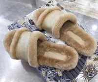 Mocasines Piel Muller Shoes Fashion Women Letter Letra Impresión Fluffy Furry Zapatillas Ladies Winter Winter Cómodo Cómodo Girl Flip Flops Sandalias