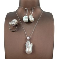 Earrings & Necklace Baroque Pearl Set,925 SILVER Jewelry Set With Necklace,ring,earring,100% NATURE FRESHWATER -20-32 Mm Big Pearl,