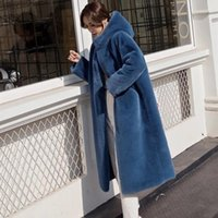 Women's Fur & Faux 2021 Winter Women High Quality Mink Coat Luxury Long Vest Hooded OverCoat Thick Warm Plus Size Female Plush Coats