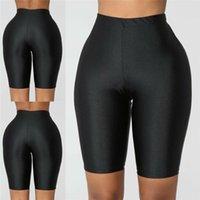 Fluoreszenzfarbe Biker Trainingsanzug Slim Frauen Shorts Schwarze Feder Beiläufige Hohe Taille Mode Feste Sexy Körper