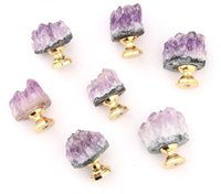Wholesale Home Natural Amethyst Crystal Knobs Cabinet Stone Pulls Gemstone Handles for Cupboard Drawer Dresser Office
