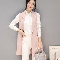 Women's Vests 2021 Spring Autumn Sleeveless Blazer Vest Singel Button Long Waistcoat Female Women Outwear Jacket Pocket Coat P3413