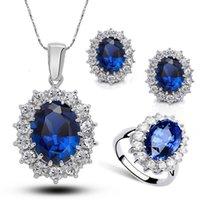 Moda Mavi Kristal Taş Düğün Takı Setleri Gelinler Için Gümüş Renk Kolye Kadınlar Için Set Afrika Takı Setleri Daha 1868 Q2