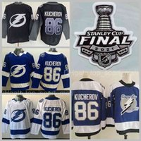 Tampa Bay Lightning 86 Nikita Kucherov 유니폼 남성 Hockey 2021 Stanley Cup Final Patch 21 Brayden Point 77 Victor Hedman Stitched Good Blue White Black Reverse Retro