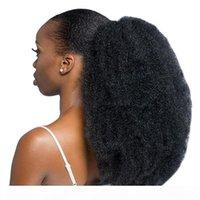 Human Hair Ponytails 4b 4c Afro Kinky Curly Drawstring Wrap Around Ponytail Virgin Human Hair Ponytail 140g natural black 1b
