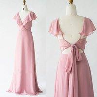 고품질 핑크 v 목 쉬폰 주름기 껍질 플러스 크기 사용자 정의 웨딩 파티 가운 선 긴 신부 들러리 드레스