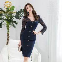 2021 Sonbahar Yeni Ünlüler Uzun Kollu Dantel Elbise Grace Narin Şeffaf Ekleme Uzun Kollu Paketi Kalça Dressswimwear Mayo S