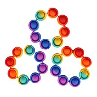 US-Bestrahlung Favor Silikon Regenbogen Push It Spielzeug Armbänder Bubble Autismus Anti-Stress Zappeln Sinnes Armband Hand Finger Presse