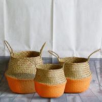 Almacenamiento Cestas 3pcs naranja conjunto Mano tejido de mimbre Cesta de lavandería Jardín Flor de macetas Poticion Toys Holder Ropa Organizador