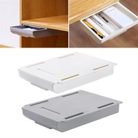 Hanging Container ABS Drawers Style Storage organizer Boxes Punch Free Adhesive Pen Box Under Table Desk Drawer Organizers
