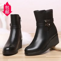 Winter Sheepskin Fur Integrated Genuine Leather Short Boots Womens Wedge Flat Platform Wool Warm Cotton Shoes Mom Booties